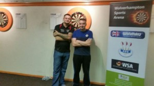 2015-06-11 - Winmau Darts Centre Knockout - Losing Semi Finalists Rob Thompson (left) and Kristian Wharton (right).