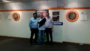 2015-07-02 - Winmau Darts Centre Knockout - Dharam (Tam) Jagpal (Arena Owner), Ashley Hykin (Runner Up), Ian Flack (Winmau)