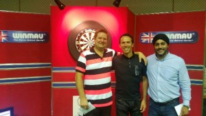 2015-08-29 - Wolverhampton Open - Left to Right - David Neads (Runner Up), Andy Jones (Winmau), Dharam (Tam) Jagpal (Arena Owner).